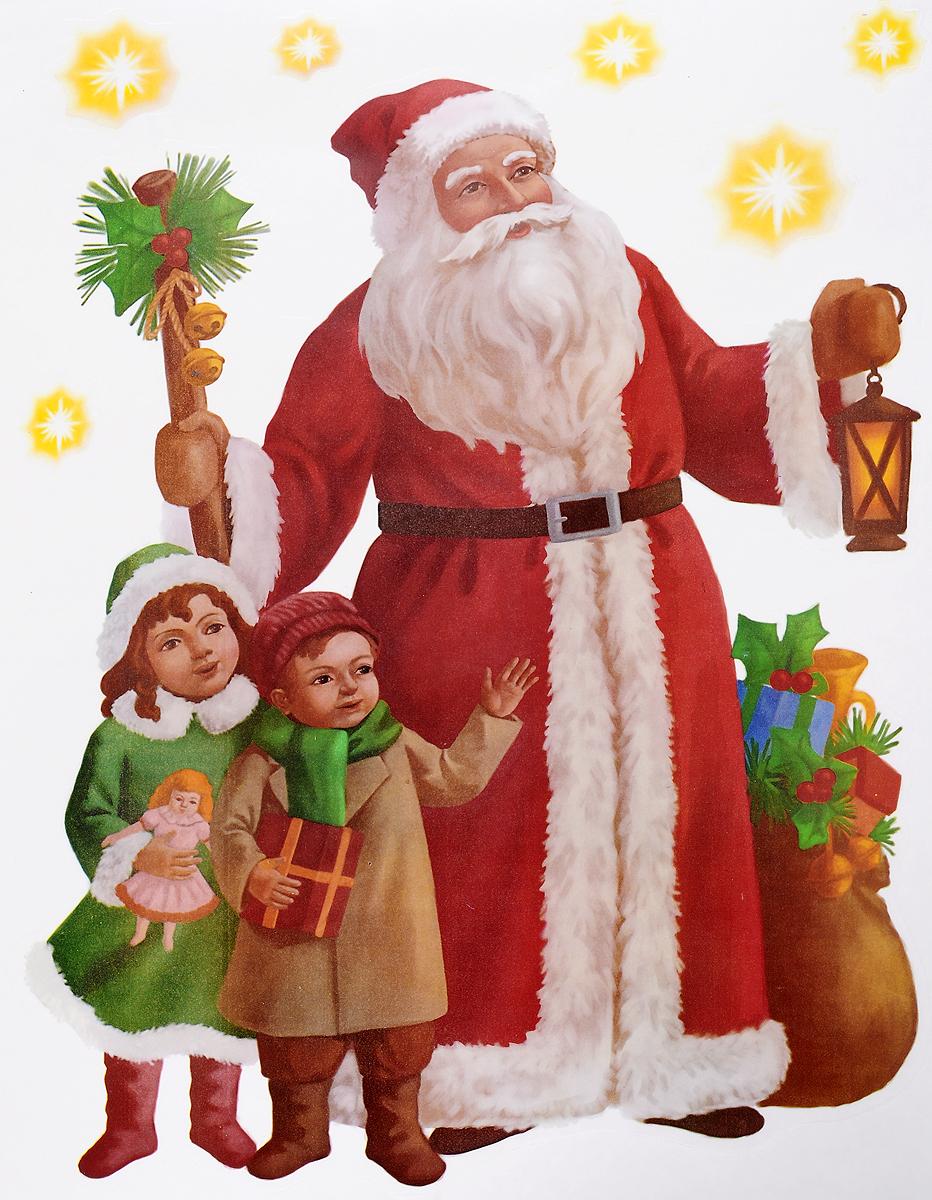 Украшение новогоднее оконное Winter Wings Дед Мороз и дети, 7 шт оконное украшение дед мороз и снегурочка 2000049137130 30 х 41 5 х 1 см