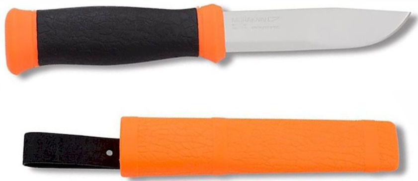 Нож туристический Morakniv 2000, цвет: оранжевый, черный, стальной, длина лезвия 10,9 см