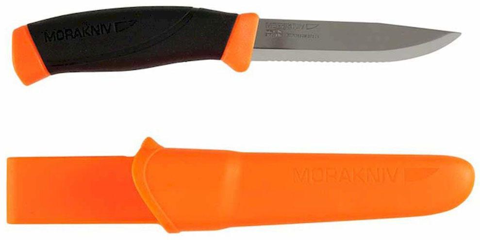 Нож туристический Morakniv Companion F, серрейтор, цвет: оранжевый, черный, стальной, длина лезвия 10,3 см