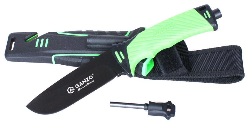 Нож туристический Ganzo, цвет: зеленый. G8012