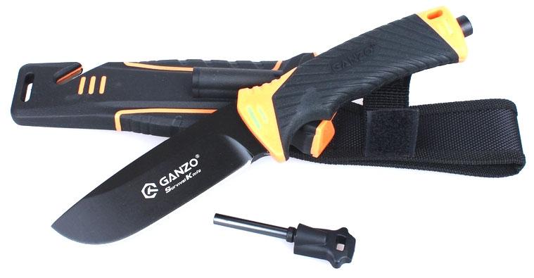 Нож туристический Ganzo, цвет: черный, оранжевый. G8012