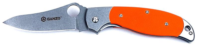 """Нож туристический """"Ganzo"""", цвет: оранжевый, стальной, длина лезвия 8,9 см. G7372-OR"""