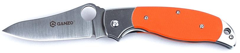 """Нож туристический """"Ganzo"""", цвет: оранжевый, стальной, длина лезвия 8,9 см. G7371"""