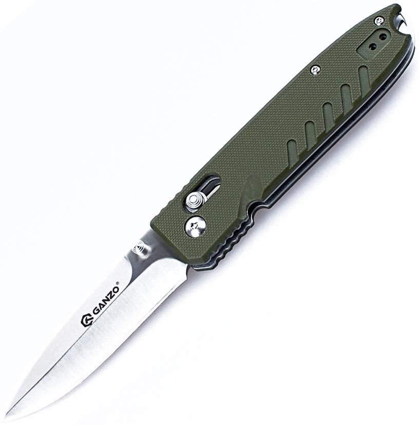 Нож туристический Ganzo, цвет: зеленый, стальной, длина лезвия 8,5 см. G746-1-GR