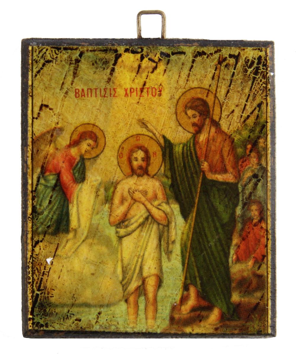 Икона-образок Крещение. Дерево, роспись, лак. Греция, вторая половина XX века икона 5 апостолов