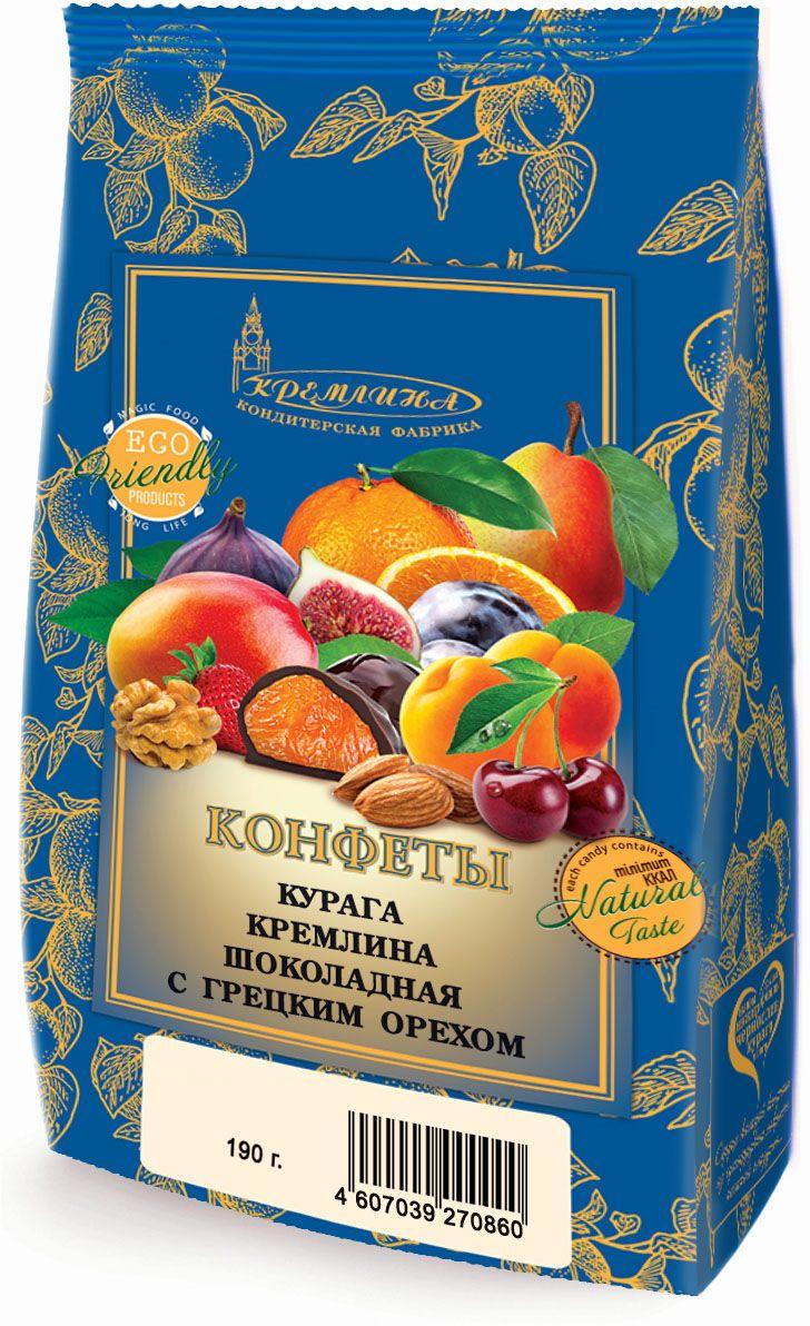 Кремлина Курага в шоколаде с грецким орехом, 190 г кремлина микс чернослив с грецким орехом курага с грецким орехом финик инжир в шоколаде 1 кг