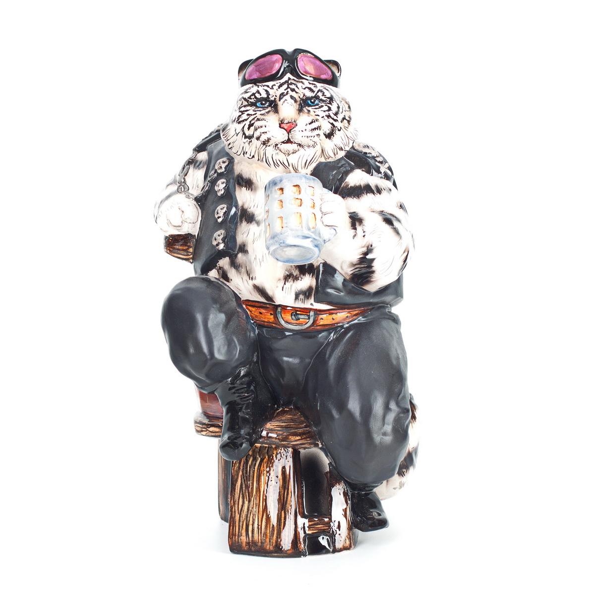 Керамическая статуэтка Белый тигр байкер. Авторская работа. ZORA. Россия. ZS-TIBW-28 керамическая скульптура кот бобтейл авторская работа zora россия zs bog 22