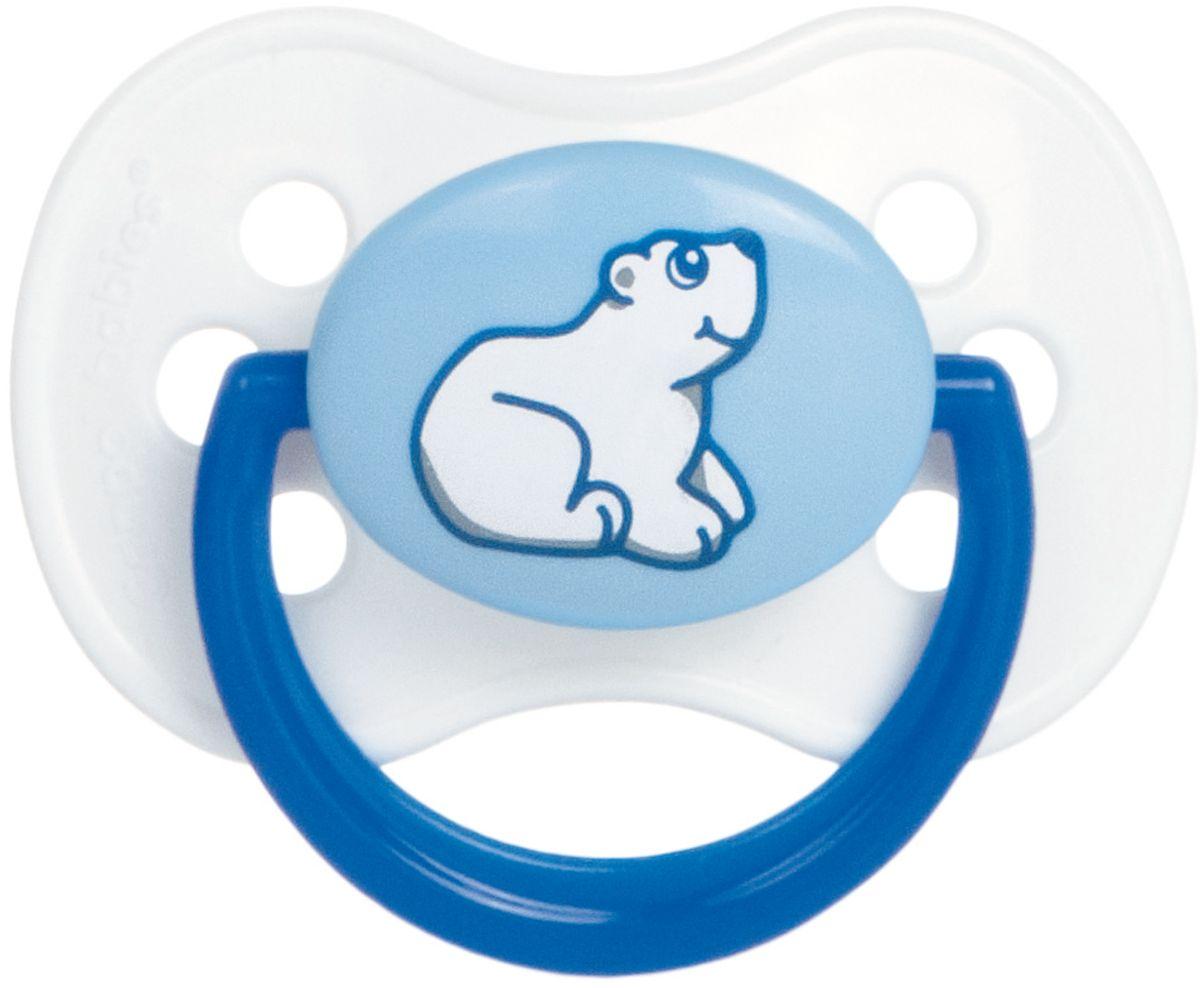 Canpol Babies Пустышка латексная Animals от 6 до 18 месяцев цвет белый синий