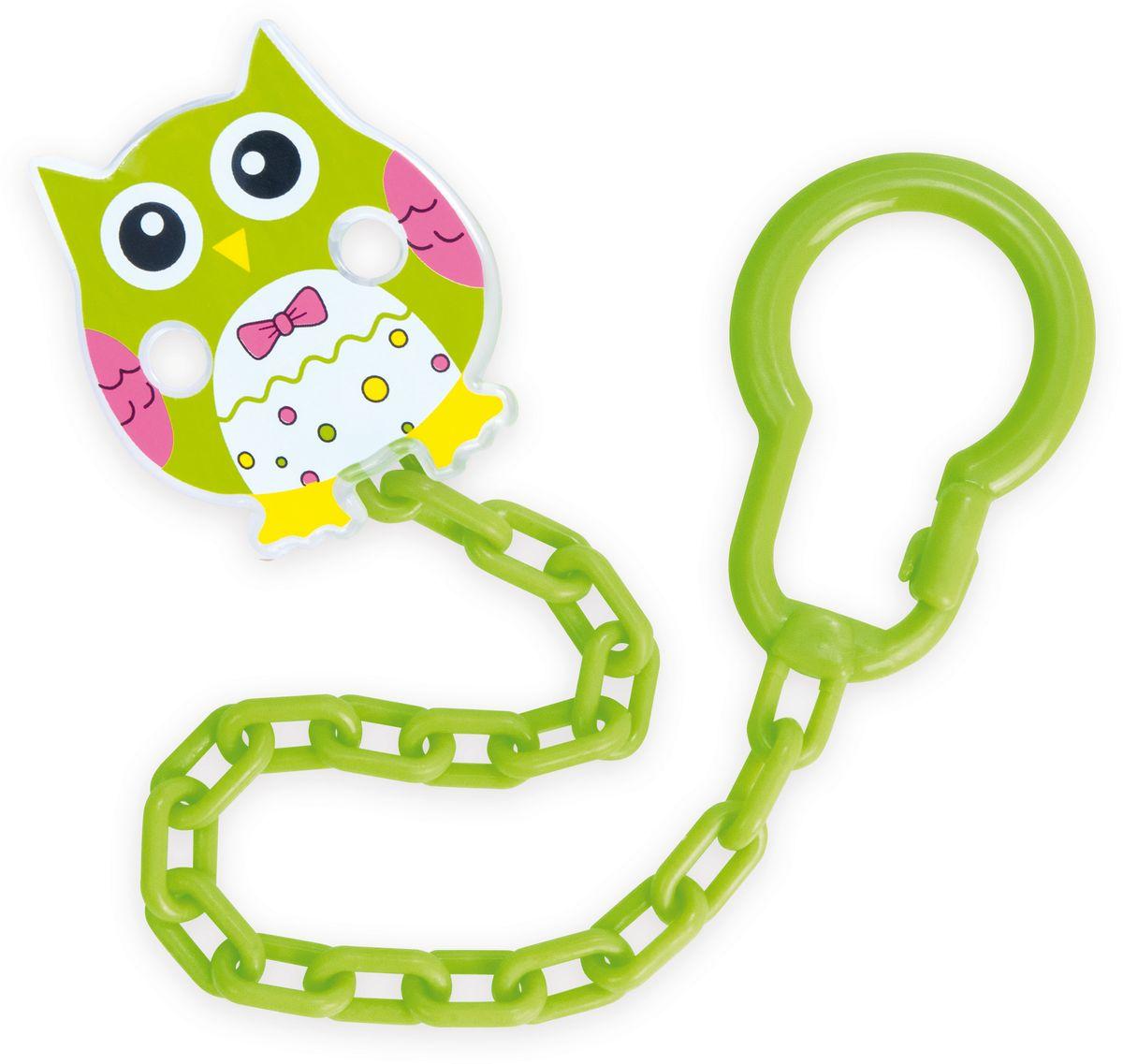 Canpol Babies Клипса-держатель для пустышки Сова цвет зеленый canpol babies клипса держатель для пустышки самолетик