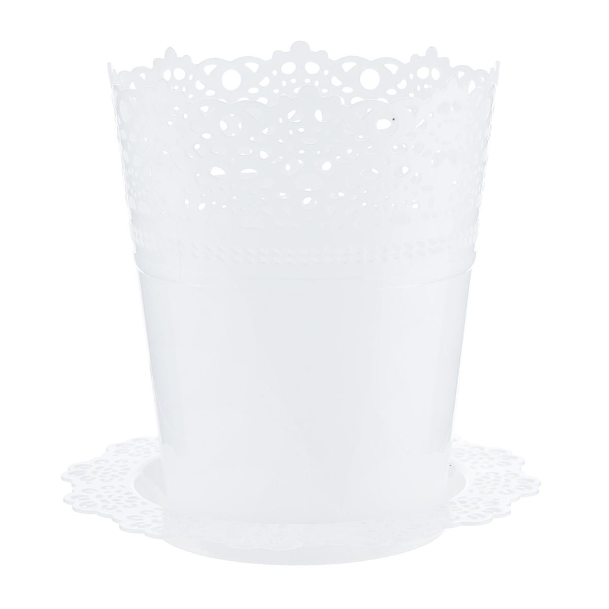 Кашпо Idea Ажур, с подставкой, цвет: белый, диаметр 18,5 см кашпо idea верона с подставкой цвет белый диаметр 18 см
