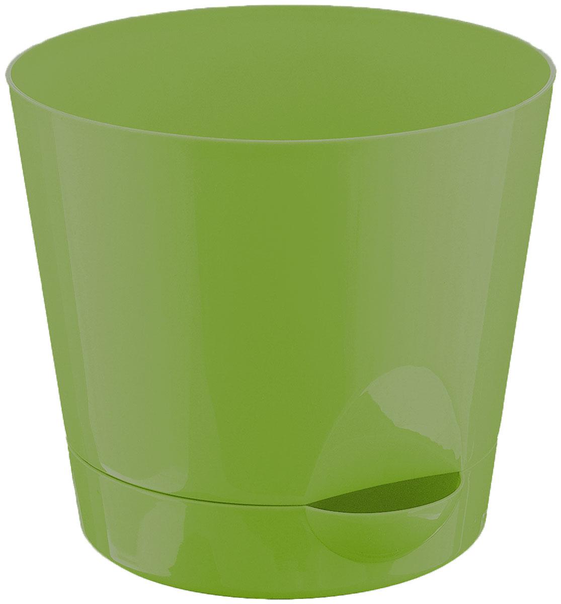 Кашпо Idea Ника, с прикорневым поливом, с поддоном, цвет: ярко-зеленый, 2,7 л горшок ника гортензия d12см 0 8л с прикорневым поливом