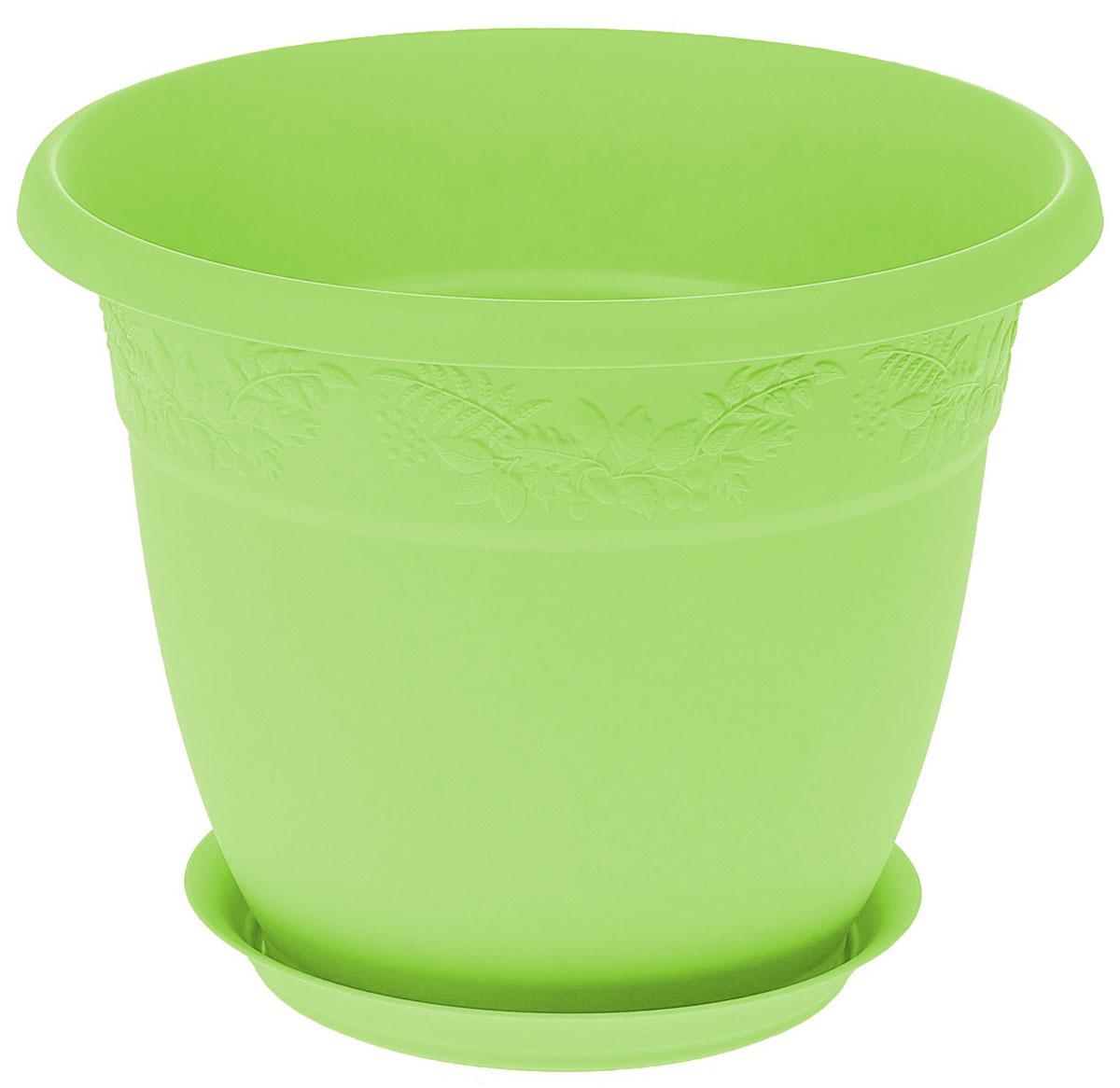 Кашпо Idea Рябина, с поддоном, цвет: мята, 3,6 л кашпо idea рябина с поддоном цвет терракотовый 2 3 л