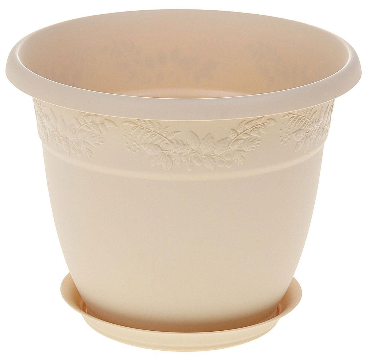 Кашпо Idea Рябина, с поддоном, цвет: белая глина, 5 л кашпо idea рябина с поддоном цвет терракотовый 2 3 л