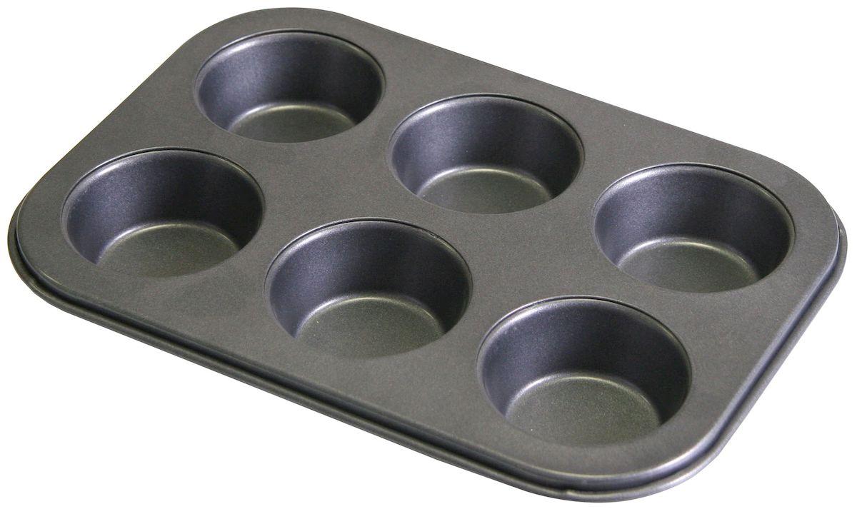 Форма для выпечки кексов Axentia, 6 ячеек, с антипригарным покрытием, 26,5 х 18 х 3 см форма для выпечки жаклин круг 2803204 с антипригарным покрытием 28 ячеек 40 7 х 28 5 х 3 см