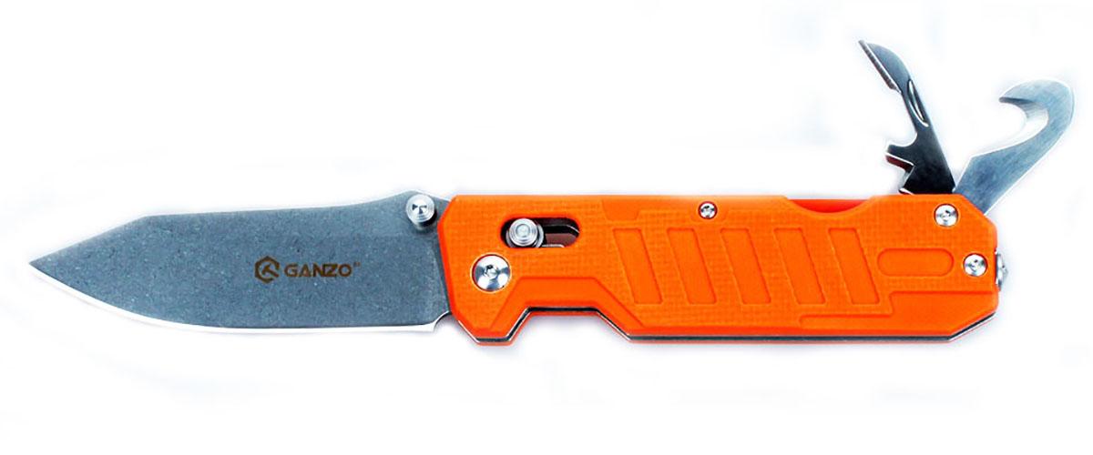 """Нож туристический """"Ganzo"""", цвет: оранжевый, стальной, длина лезвия 8,6 см. G735"""