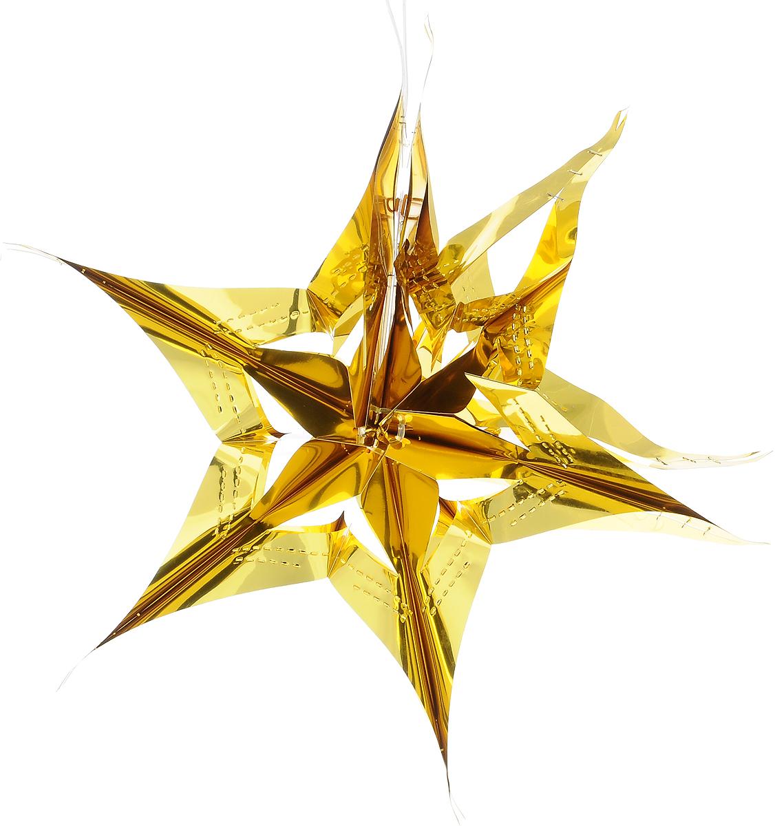 Украшение новогоднее подвесное Winter Wings Звезда, цвет: золотистый, диаметр 30 см украшение новогоднее оконное winter wings новогодние герои 5 шт n09356 ангелы