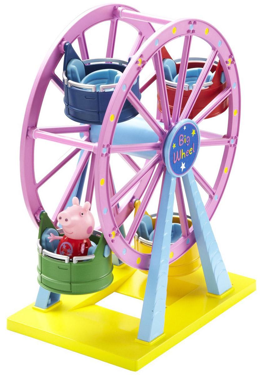 Peppa Pig Игровой набор Колесо обозрения30400С игровым набором Peppa Pig Колесо обозрения ваш малыш окунется в мир увлекательных приключений свинки Пеппы.На колесе находятся четыре открытые кабинки с удобными сиденьями, подходящими для Пеппы, Джорджа и их друзей, благодаря специальным углублениям. Крутите колесо и свинка Пеппа будет весело кататься на аттракционе, покачиваясь из стороны в сторону.Сюжетно-ролевая игра с таким набором развивает у ребенка координацию движений, воображение, навыки общения и речь.Набор выполнен из высококачественного и безопасного пластика.В набор входит фигурка свинки Пеппы, другие фигурки продаются отдельно.