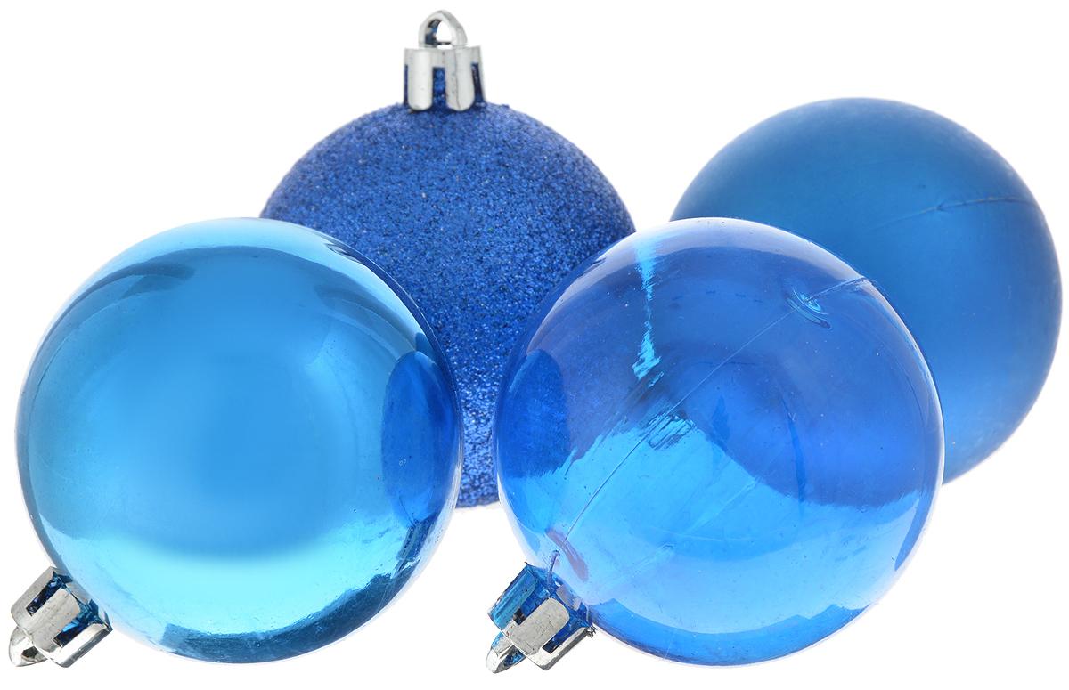"""Набор новогодних подвесных украшений Winter Wings """"Шары"""", цвет: синий, диаметр 5,5 см, 4 шт"""