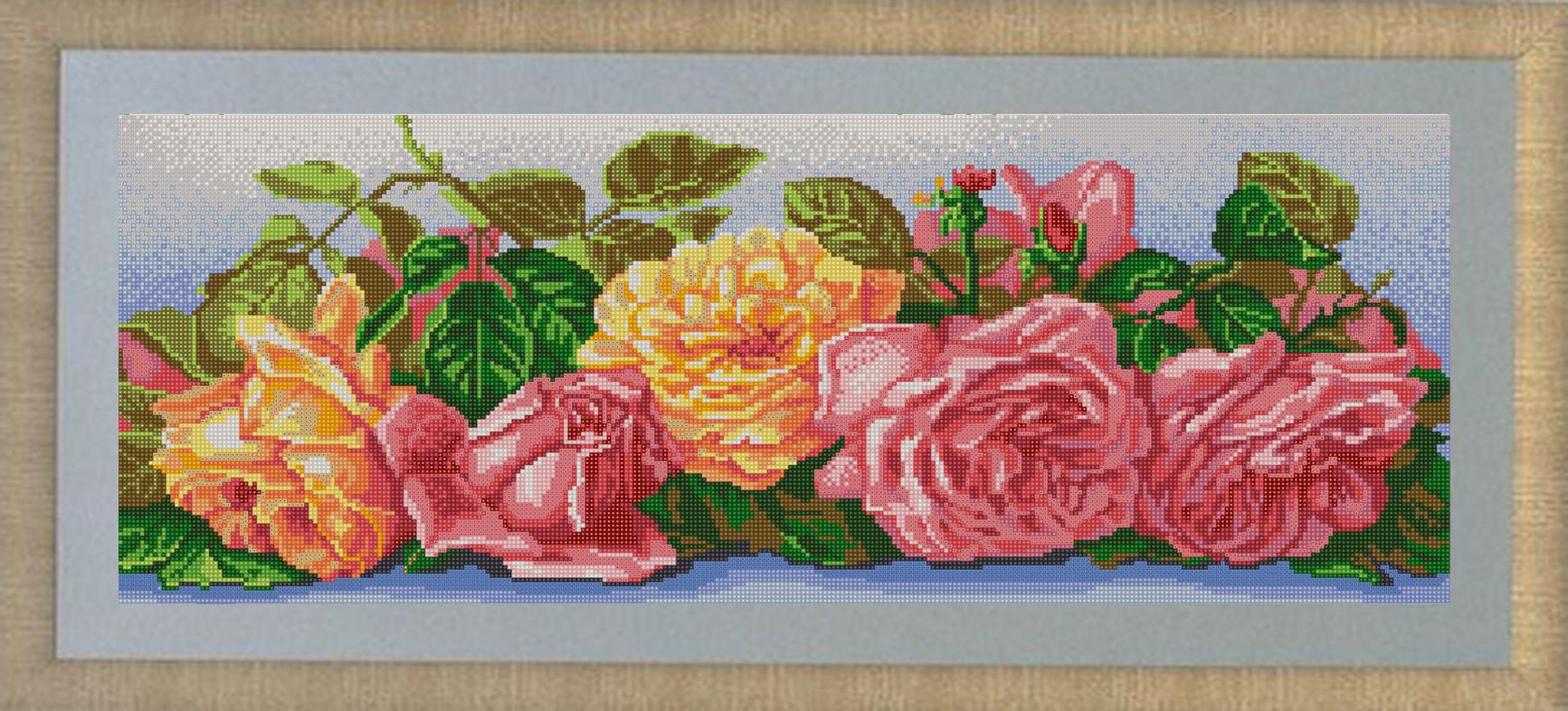 Канва с нанесенным рисунком Конек Розы, для вышивания бисером, 25 х 65 см канва с рисунком для вышивания орхидеи 28 х 34 см 1316
