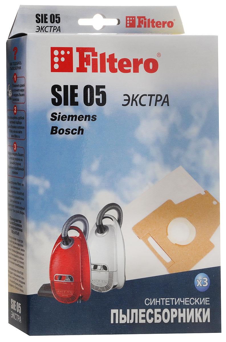 Filtero SIE 05 Экстра мешок-пылесборник 3 штSIE 05 ЭкстраМешки - пылесборники Filtero SIE 05 Экстра произведены из пятислойного синтетического микроволокна MicroFib. Они очень прочные, не боятся острых предметов и влаги, собирают до 50% больше пыли, чем бумажные. Обеспечивают уровень очистки воздуха НЕРА и сохраняют мощность всасывания в течение всего периода службы пылесборника.