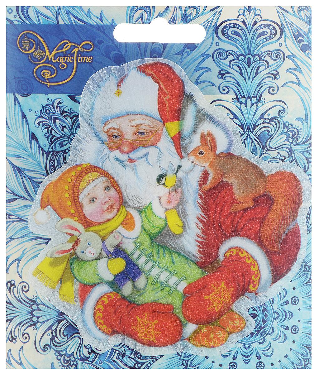 Украшение новогоднее Magic Time Дедушка Мороз с девочкой, со светодиодной подсветкой, 11,5 x 11 x 3 см. 42207 stainless steel home security door stop alarm 3 x lr44