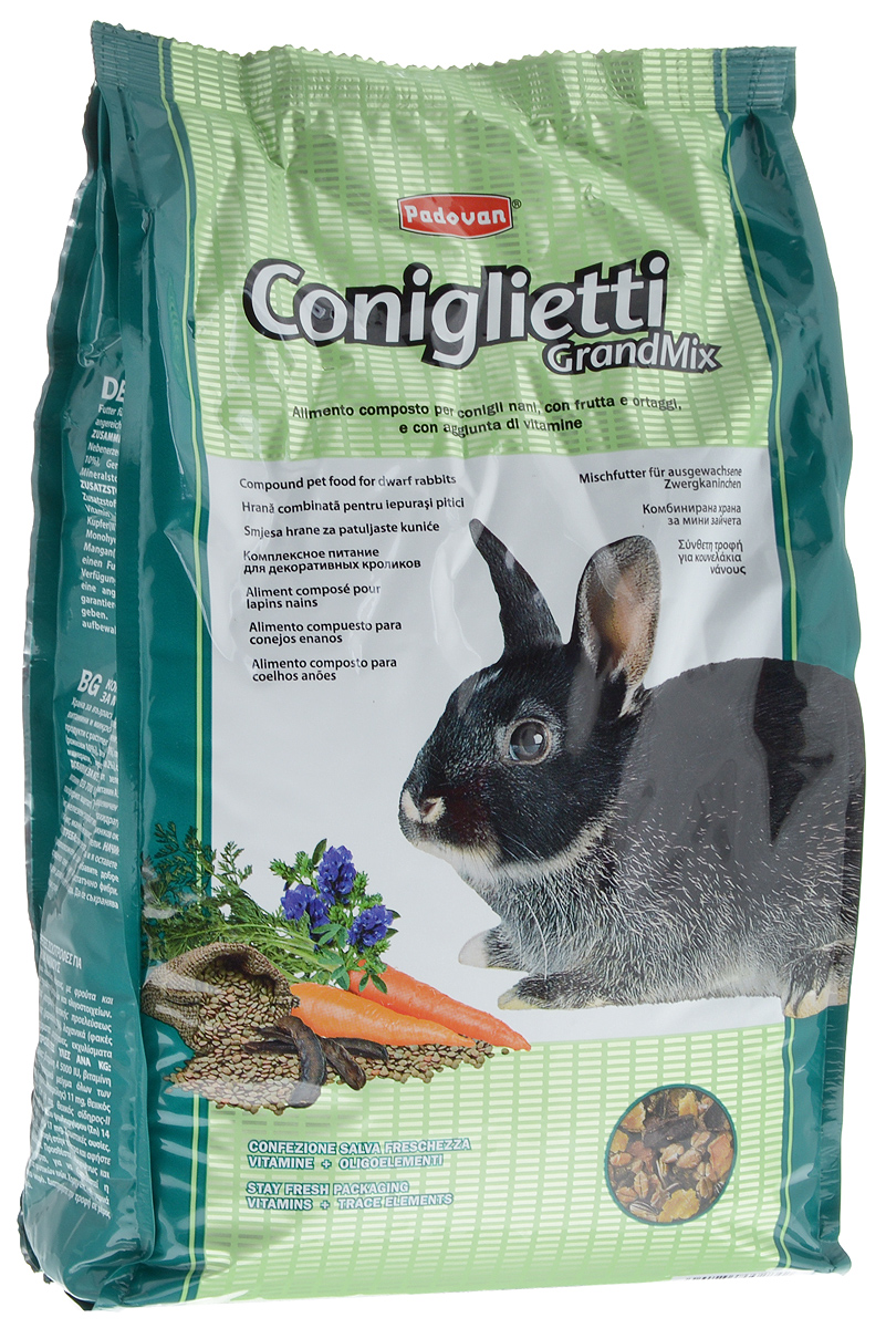 Корм для кроликов Padovan Grandmix Coniglietti, 3 кг padovan корм padovan lino для птиц зёрна льна 1 кг