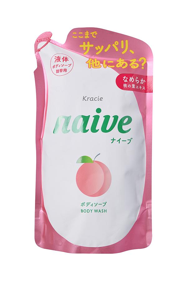 """Kracie 16961kr """"Naive"""" Мыло жидкое для тела с экстрактом листьев персикового дерева (сменная упаковка), 380 мл"""