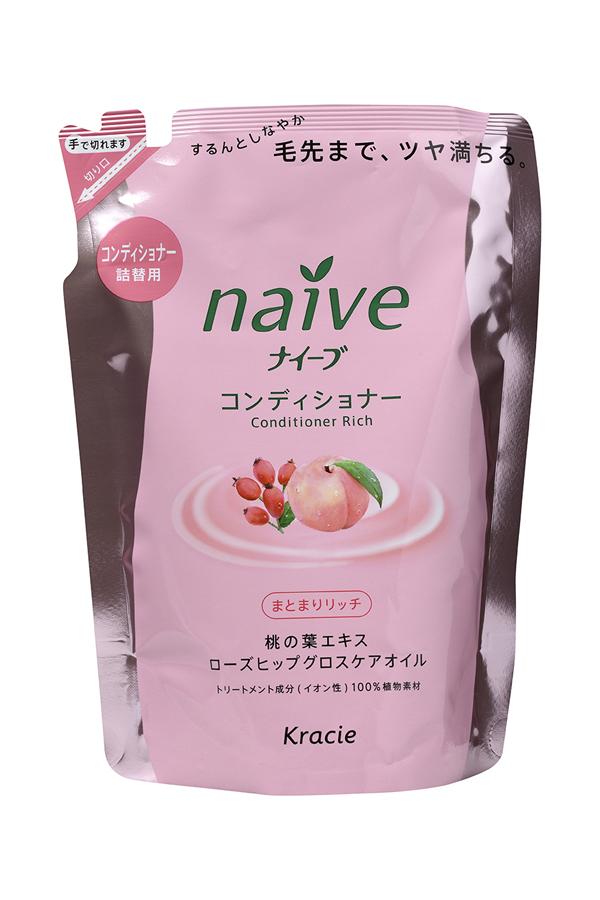 Kracie 71611 Naive Бальзам-ополаскиват. для сух. волос восст. «Naive - экстракт персика (смен.упаковка), 400 мл косметика для мамы kracie naive шампунь для волос с экстрактом персика запасной блок 400 мл