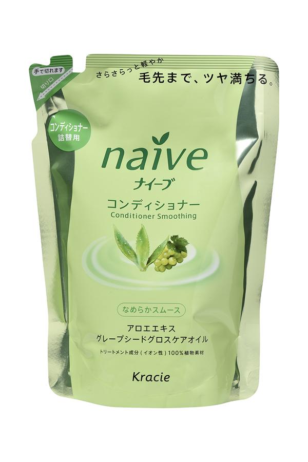 Kracie 71612 Naive Бальзам-ополаскиватель для норм. волос восст.Naive - экстракт алоэ (смен.упаковка), 400 мл косметика для мамы kracie naive шампунь для волос с экстрактом персика запасной блок 400 мл