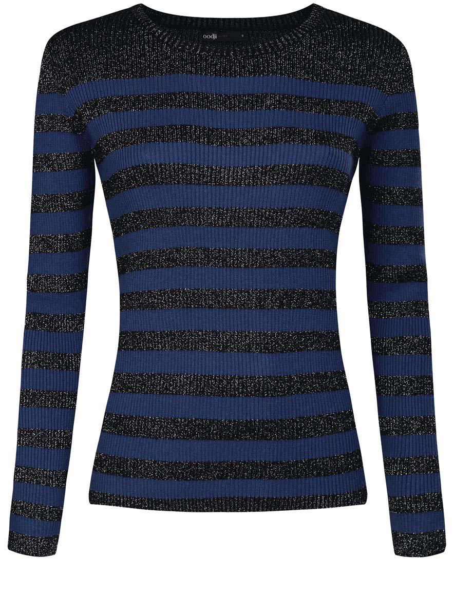 Джемпер женский oodji Ultra, цвет: черный металлик, синий. 63812577-2/46476/2975S. Размер XS (42)63812577-2/46476/2975SЖенский джемпер oodji Ultra изготовлен из хлопка, полиэстера и вискозы. Джемпер связан резинкой. Модель с круглым вырезом горловины и длинными рукавами оформлена полосками, украшена блестящей металлизированной нитью.