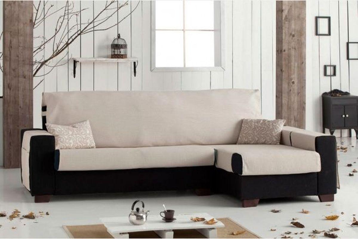 Чехол на угловой диван Медежда Иден, правый угол, цвет: бежевый чехол на двухместный диван медежда лидс цвет бежевый