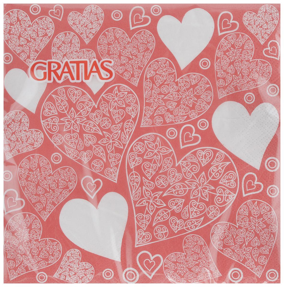 Салфетки бумажные Gratias Сердечки, трехслойные, 33 х 33 см, 20 шт салфетки бумажные gratias мишутка трехслойные 33 х 33 см 20 шт