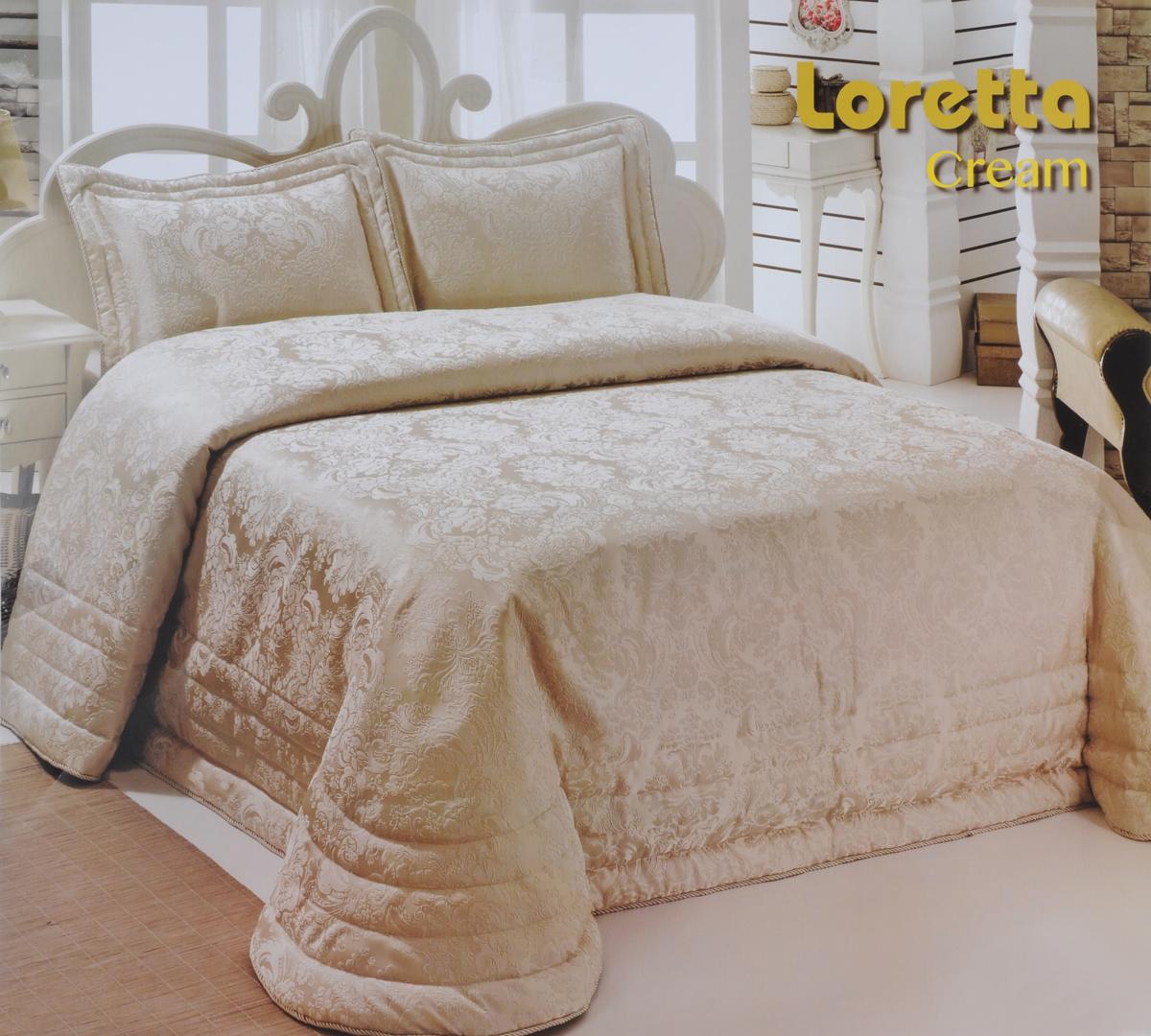 """Комплект для спальни Modalin """"Nazsu. Loretta"""": покрывало 250 х 270 см, 2 наволочки 50 х 70 см, цвет: кремовый"""