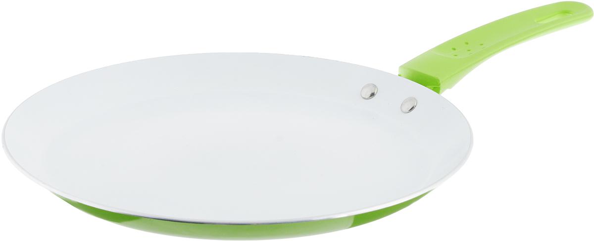 Сковорода блинная Добрыня, с керамическим покрытием, цвет: зеленый. Диаметр 24 см. DO-5015 сковорода блинная добрыня с керамическим покрытием цвет зеленый диаметр 24 см do 5015