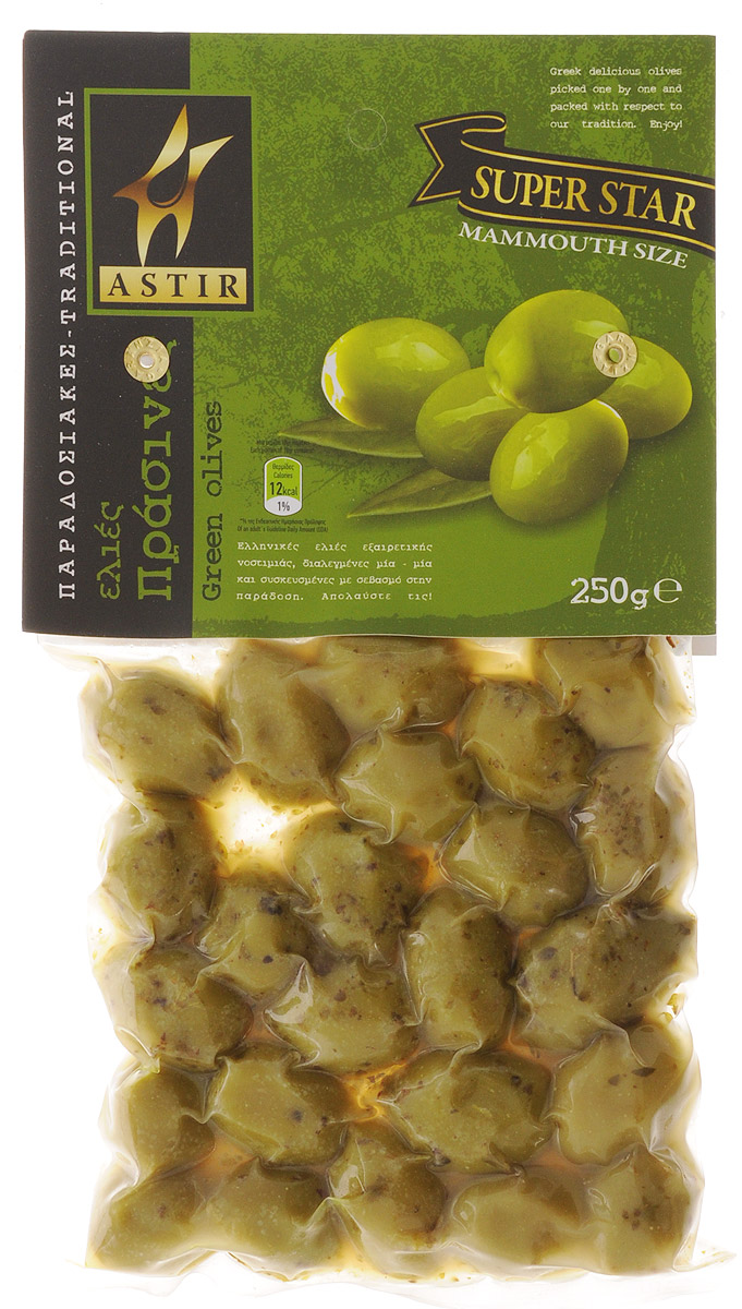 Astir Оливки зеленые с косточкой, 250 г guerola оливки зеленые сорта кампо реал с косточкой 2 25 кг