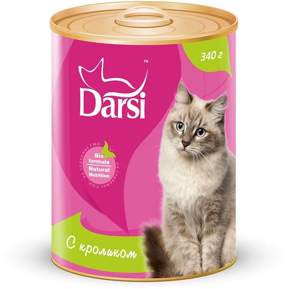 """Консервы для кошек """"Darsi"""", с кроликом, 340 г. 9235"""