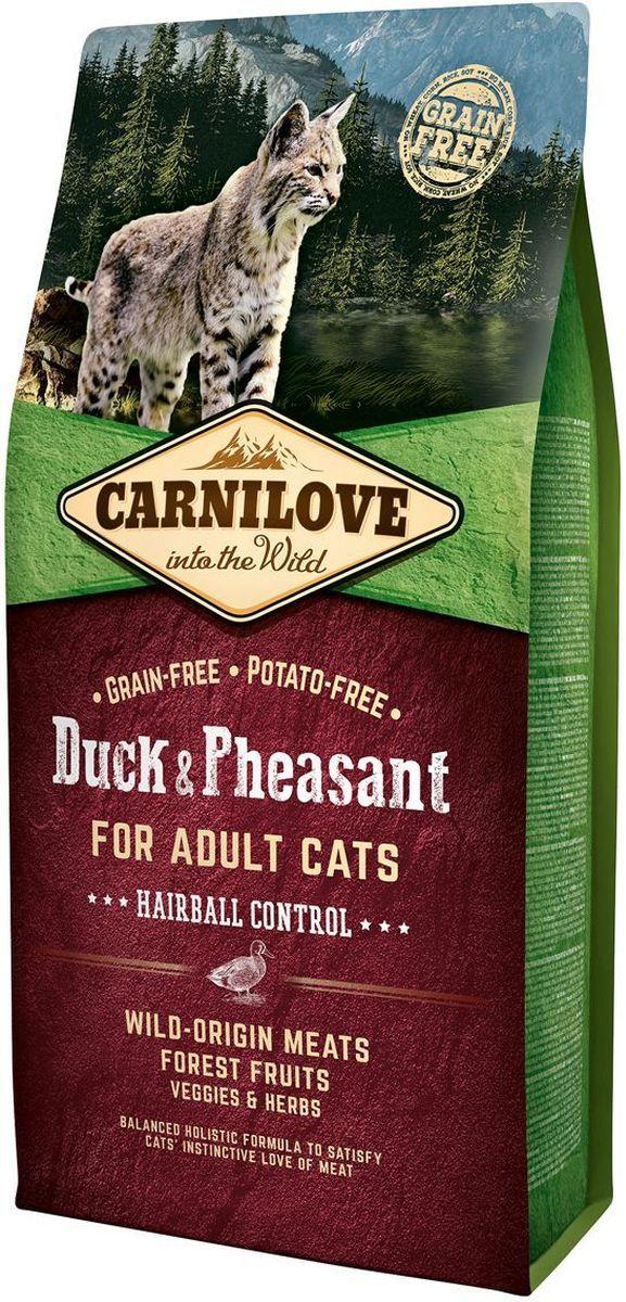 Корм сухой Carnilove, для кошек, беззерновой, с мясом утки и фазана, 6 кг корм сухой carnilove для собак беззерновой с мясом утки и фазана 1 5 кг