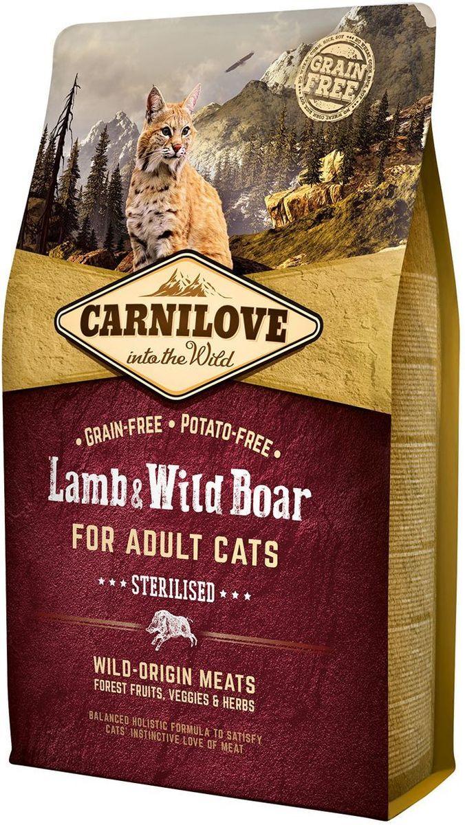 """Корм сухой """"Carnilove"""", для кастрированных котов и стерилизованных кошек, беззерновой, с мясом ягненка и дикого кабана, 2 кг"""