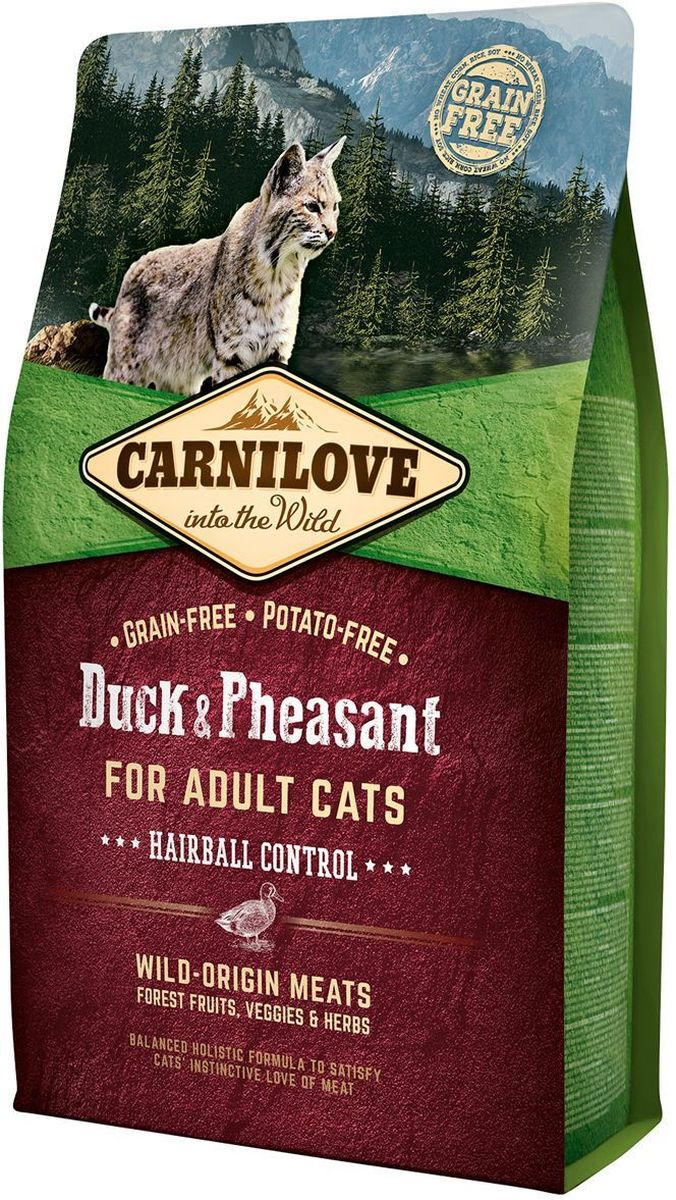 """Корм сухой """"Carnilove"""", для кошек, беззерновой, с мясом утки и фазана, 2 кг"""