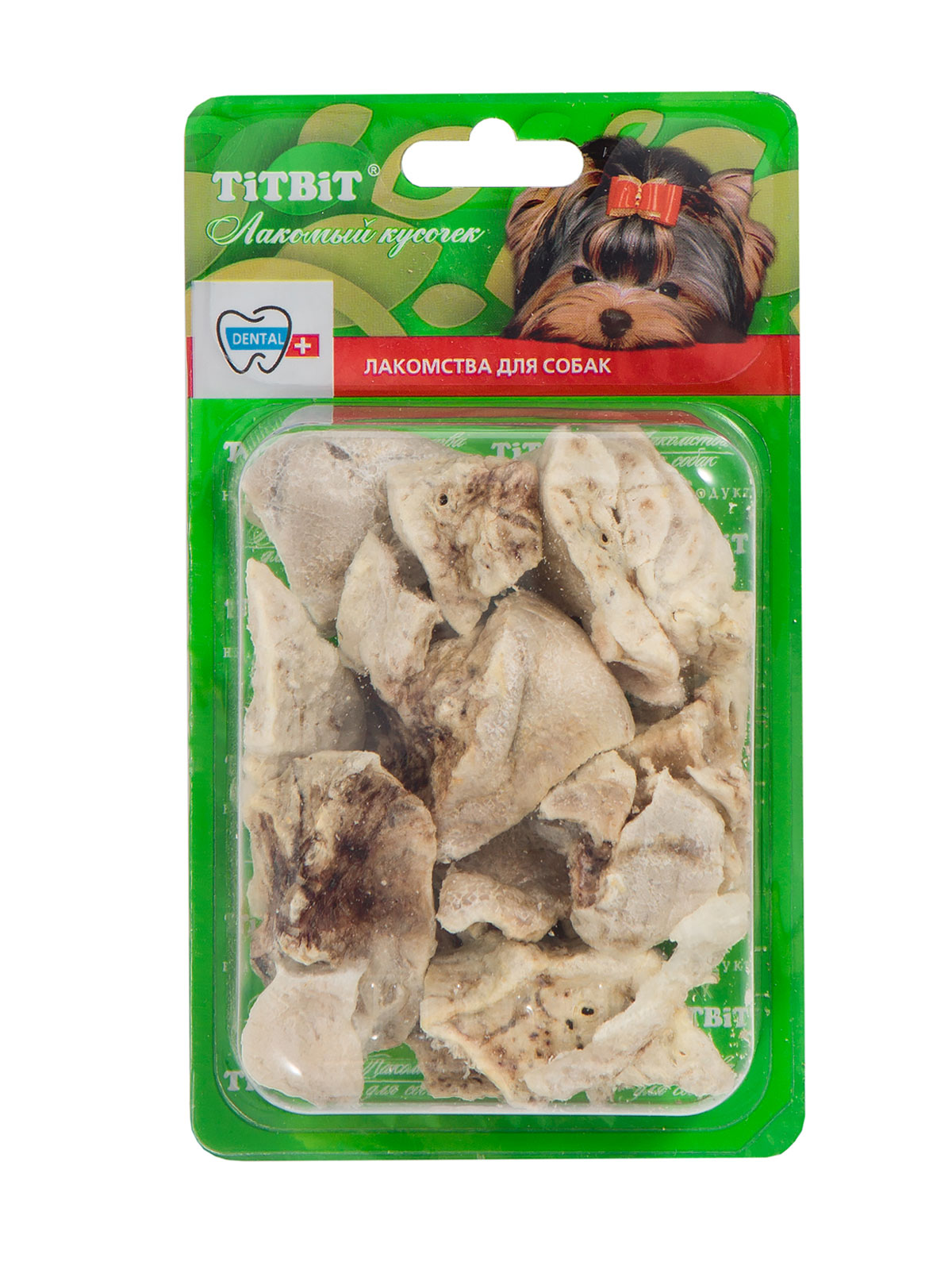 Лакомство для собак Titbit, говяжье легкое, 8-10 кусочков319304Упаковка содержит 8-10 кусочков высушенного говяжьего легкого.Высокое содержание микроэлементов и соединительной ткани дополняет удовольствие собаки от нежного лакомства. Легкие очень вкусны, малокалорийны и замечательно усваиваются организмом. Легкие содержат практически такой же набор витаминов, как и мясо, но зато гораздо менее жирные. Оказывают положительное воздействие на состояние кожи, шерсти и общий обмен веществ. Кусочки очень удобно использовать в качестве поощрения при дрессуре, и просто на прогулках. Для собак всех пород и возрастов. Особенно рекомендуется для собак с неполной зубной формулой и возрастными изменениями зубочелюстного аполипропиленовый пакетарата. Благодаря вкусовым качествам и воздушной структуре является одним из самых любимых лакомств для наших четвероногих друзей. Состав: Высушенные кусочки говяжьего легкого.