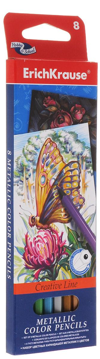 Цветные карандаши ArtBerry Metallic, шестигранные, 8 цветов erich krause набор цветных акварельных карандашей с кисточкой 12 шт