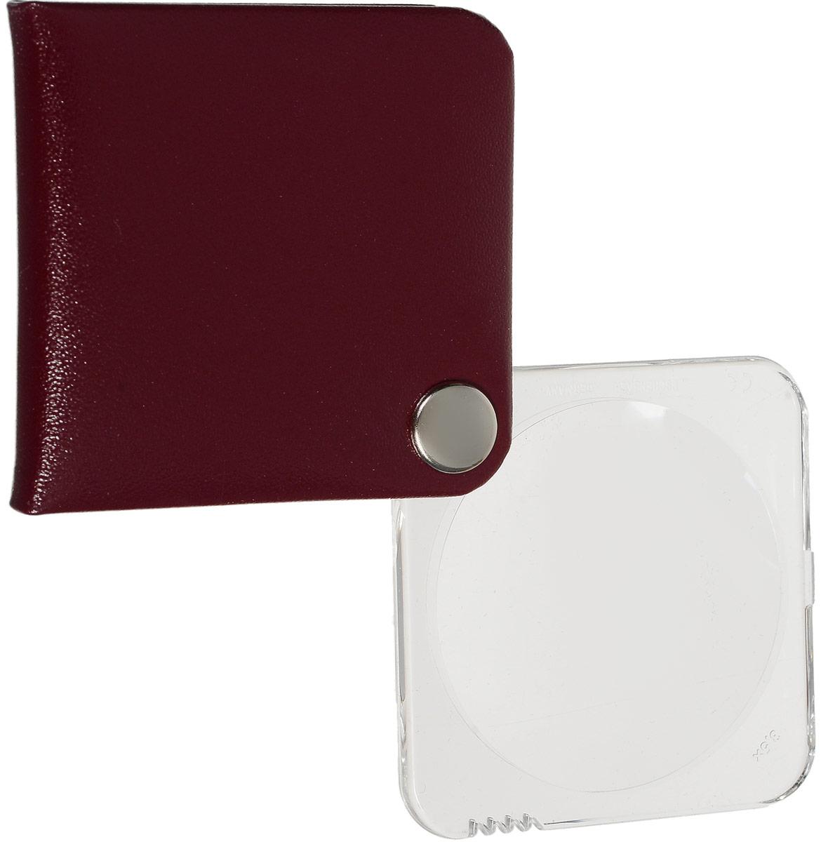 Лупа складная Eschenbach  Classic , цвет: малиновый, прозрачный, 3.5х 10.0 дптр, диаметр 5 см