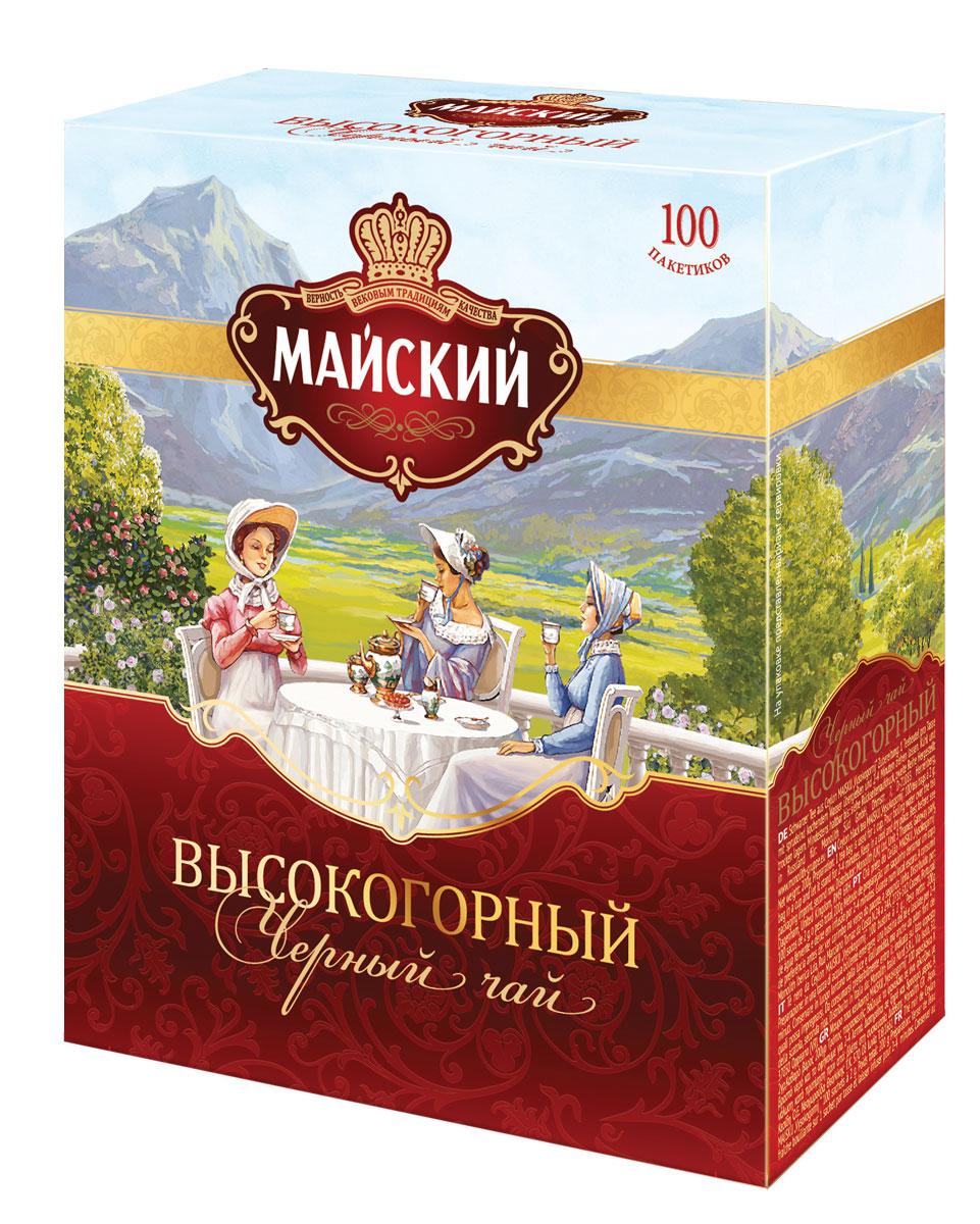 Майский Высокогорный черный чай в пакетиках, 100 шт12568_буквыМайский дарит любителям классики чашку отличного высокогорного чая. Его выделяет изысканное сочетание терпкости и цветочного аромата, крепкий, но деликатный бархатный вкус.