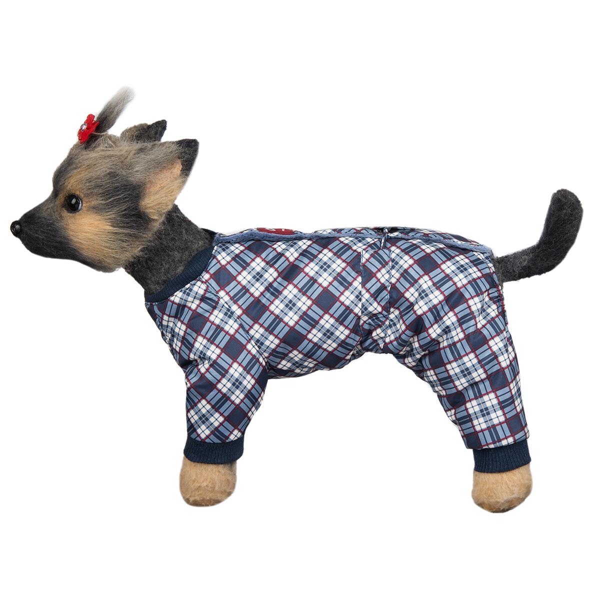 "Комбинезон для собак Dogmoda ""Нью-Йорк"", зимний, для мальчика, цвет: белый, темно-синий. Размер 1 (S)"