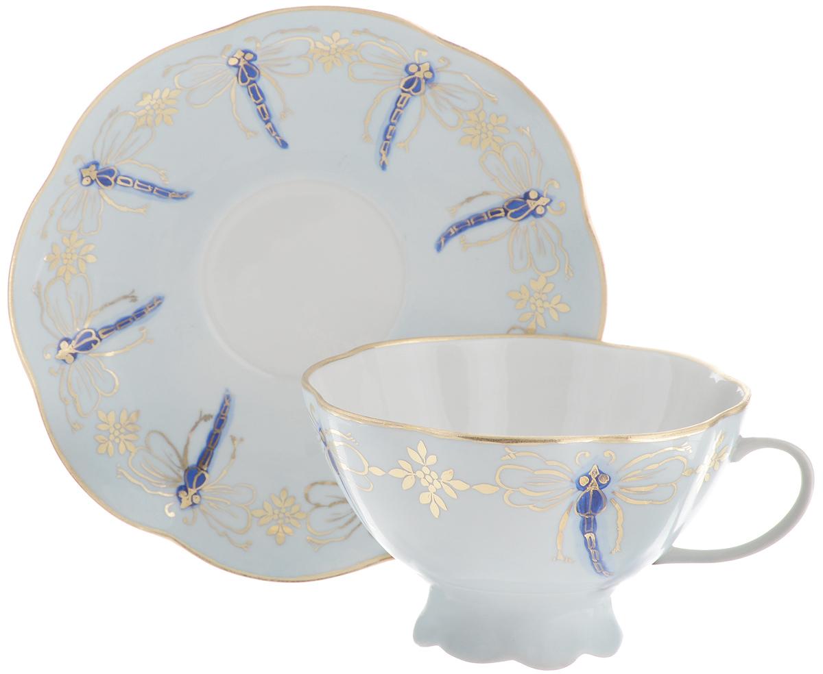 Чайная пара Фарфор Вербилок Восточная принцесса. Стрекозы, 2 предмета блюдо для яиц фарфор вербилок розовые герберы 26351660уп