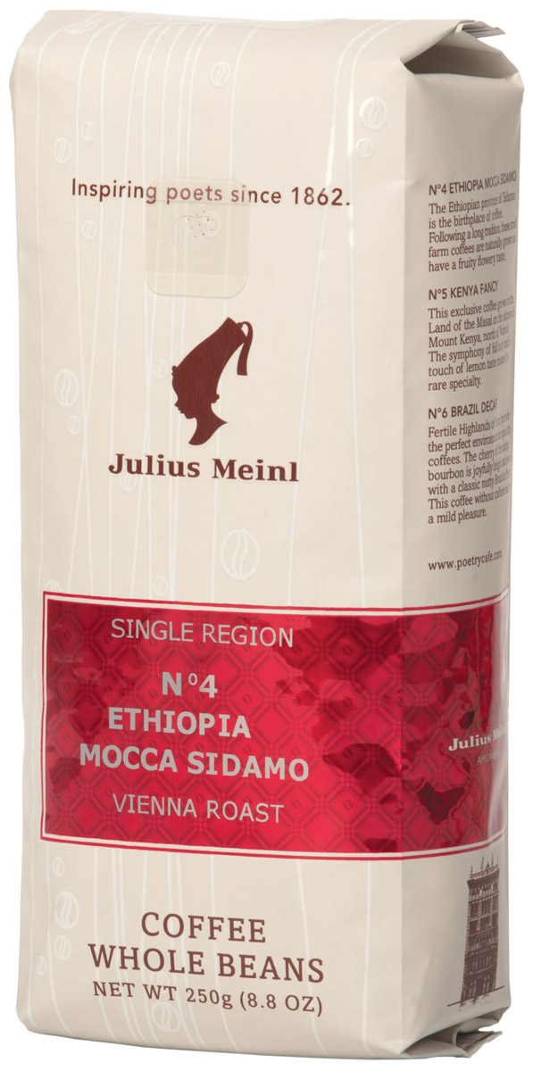Julius Meinl № 4 Эфиопия Мокка Сидамо Моно сорт кофе в зернах, 250 г кофе молотый эфиопия мокко сидамо 250 г