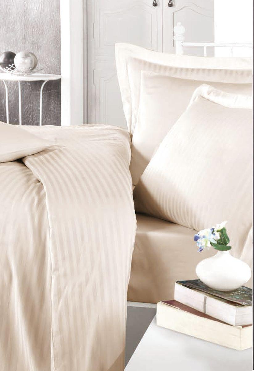 цена на Комплект белья Clasy Stripe Satin, евро, наволочки 50х70, цвет: капучино