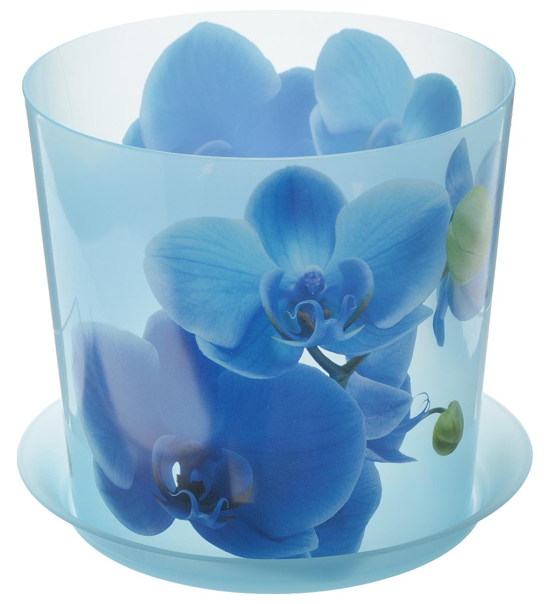 Кашпо Idea Деко, с подставкой, цвет: голубой, 2,4 л кашпо idea верона с подставкой цвет белый диаметр 18 см