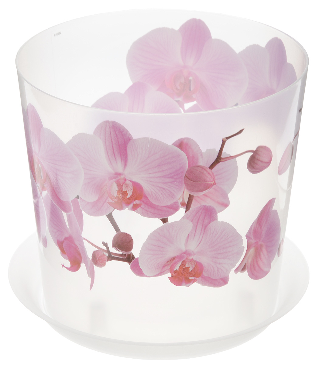 Кашпо Idea Деко, с подставкой, цвет: прозрачный, розовый, 2,4 л кашпо idea верона с подставкой цвет белый диаметр 18 см