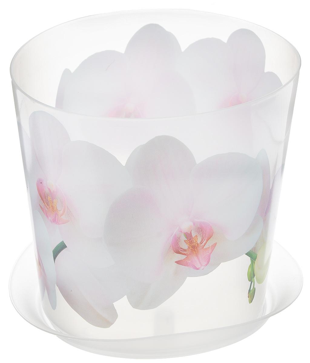 Кашпо Idea Деко, с подставкой, цвет: прозрачный, белый, 1,2 л кашпо idea верона с подставкой цвет белый диаметр 18 см